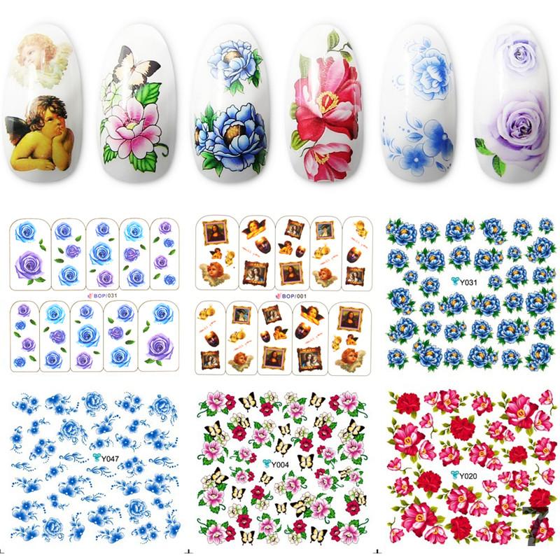 Yao Shun Manicure Mixed Styles Nail Stickers Beautiful Decals 3D 6pcs/lot Cute Angel Design Water Stickers Nail Art Tools(China (Mainland))