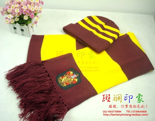 harry potter scarf and hat set Gryffindor scarf and hat(China (Mainland))