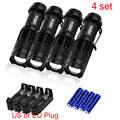 4PCS 1200 Lumens Lanternas Led Torch CREE XM L Q5 Led Zoom Flashlight Torch 14500