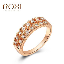 ROXI fashion jewelry ring diy22196 female romantic valentine's day wedding jewelry 18 k gold plated zircon ring 2010002225(China (Mainland))