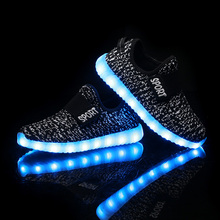 BBX Brand USB Kids LED Shoes Summer Mesh Fashion LED Sneakers Children's Breathable Sport Lighted Luminous Boys Girls Shoes YZX