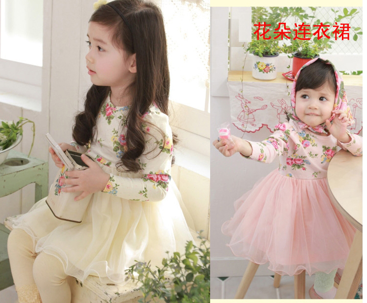 Free shipping 2013 new kid girls dress long sleeve tall waist flower print lace dress children clothes 2 colors 5pcs/lot(China (Mainland))