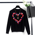 European and American Womens Exquisite Elegant Sweaters Flower Heart Shape Pullover Tops Fashion Brand Designer Knitwear