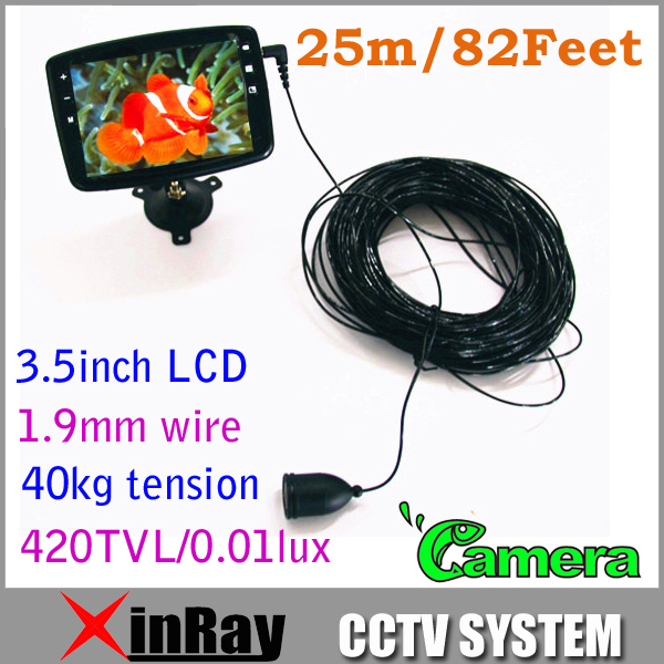 Free Shipping Fish Finder Fishing Camera Waterproof Camera 25m/82feet 1.9mm wire 40KG Tension 3.5inch LCD XR-SFD25(China (Mainland))