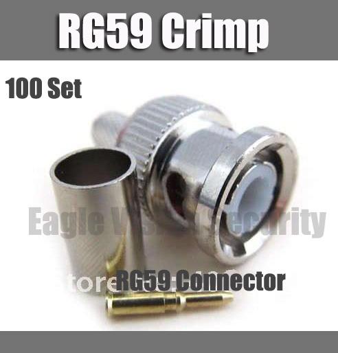 CCTV RG59 Connector BNC male crimp plug for RG59 coaxial cable BNC Connector BNC male 3-piece crimp connector plugs 100 set(China (Mainland))