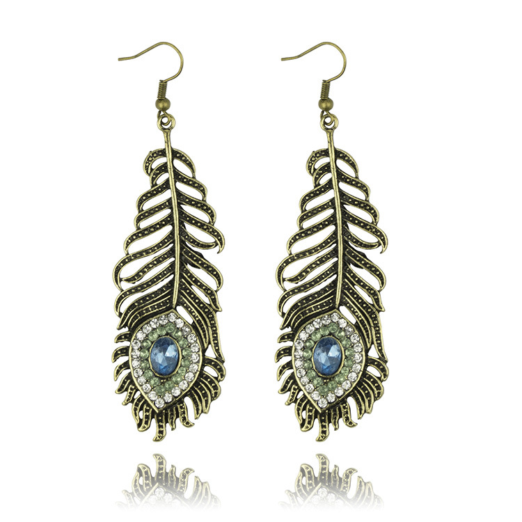 Western Style Fashion Vintage Feather Drop Earrings Crystal Decoreted Alloy Earring For Women In