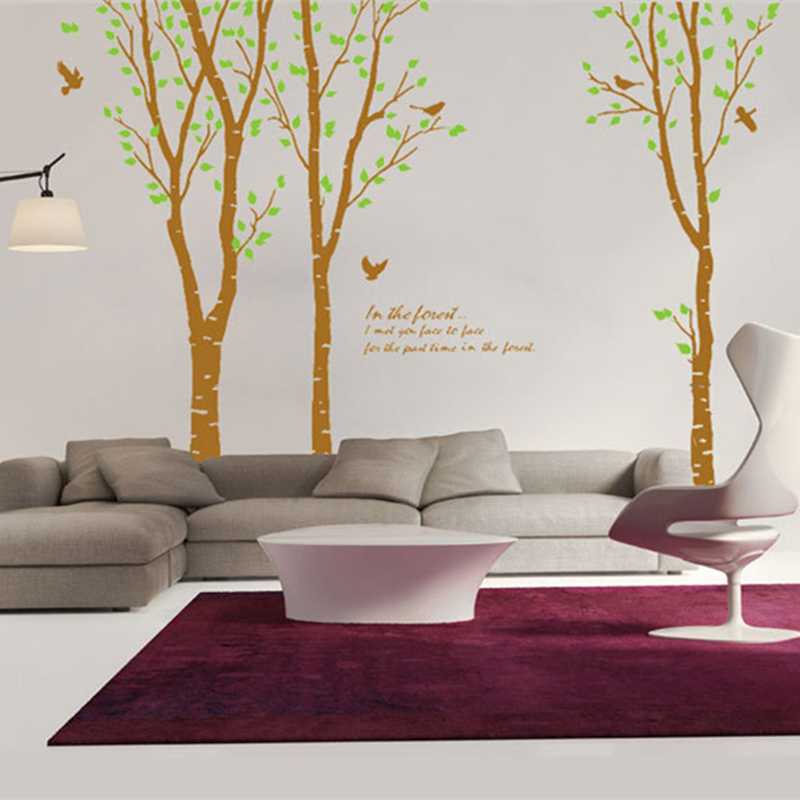 Big Green Birch Tree Forest Bird Wallpaper Large Wall stickers Removable Living Room/Bedroom/TV Sofa Background setting Free DHL(China (Mainland))