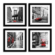 Canvas Painting Cityscape Black And White City Architecture Red Classic Vehicle Canvas Poster Painting Home Decoration No Frame(China)