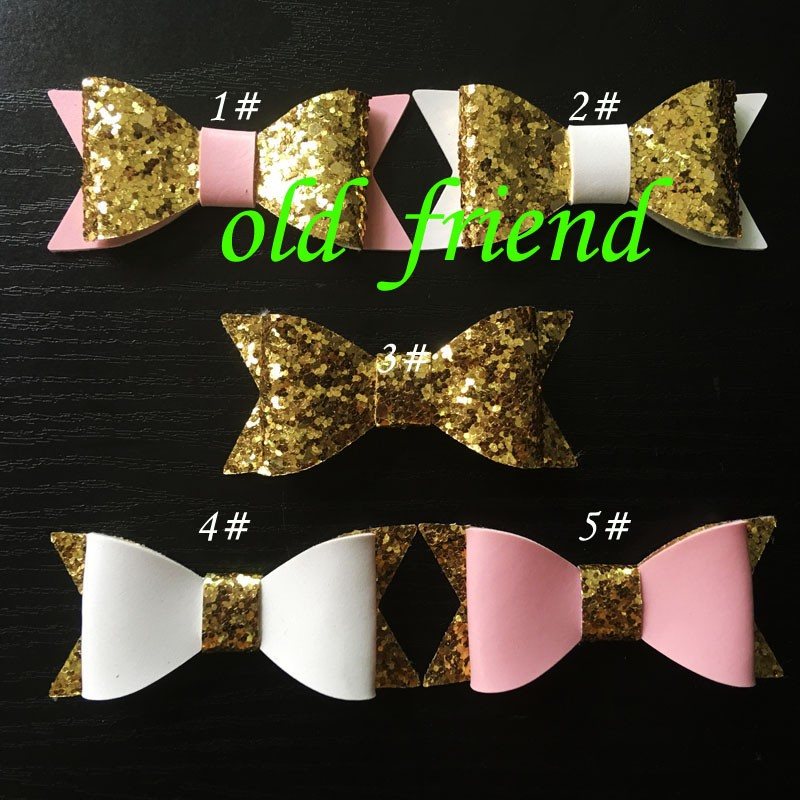 """Fashion Hair Kids, Girls bows WITHOUT Clips, 2.8"""" Mini Hair Leather Glitter Bows WITHOUT Clilps, 60pcs/lot 5 COLOR(China (Mainland))"""