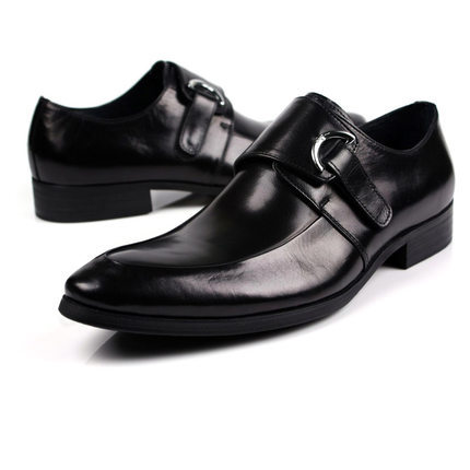 2016 new mens buckle strap genuine leather shoes pointed toe wedding party office shoes EU38-44 size 2colors handmade<br><br>Aliexpress