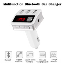 Original Car Bluetooth Kit Wireless FM Transmitter supports U-Disk music play With Voltage detection three USB car charging(China (Mainland))