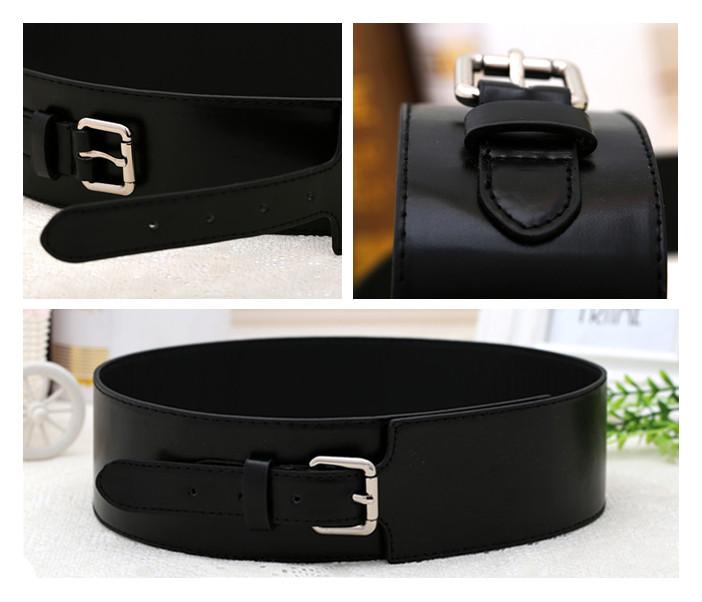 zwart pu lederen ultra brede tailleriem eenvoudige metalen gesp tailleband buikband vrouwelijke taille decortion gratis verzending(China (Mainland))