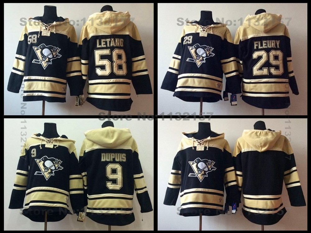 Pittsburgh Penguins Hoodie #9 Pascal Dupuis Old Time Hockey #29 Marc-Andre Fleury #58 Kris Letang Heavyweight