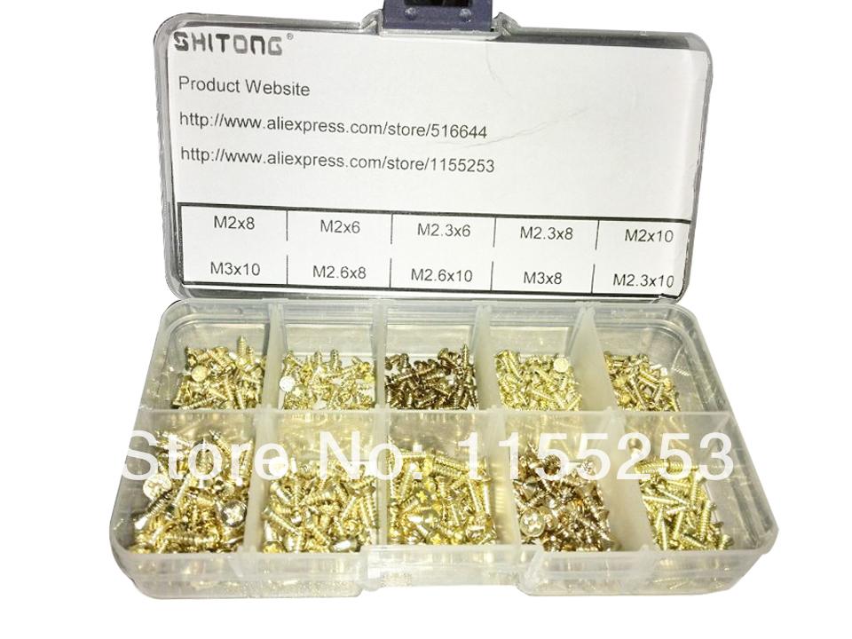 Гаджет  Free shipping,new 500 Piece Brass Plated Wood Screw Assortment None Аппаратные средства