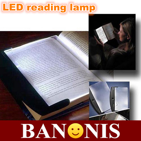 Tablet with switch LED reading lamp, portable night reading lamp, transparent LED eye clip book lamp, 17.5 * 1.5 * 14.2cm, 2x(China (Mainland))