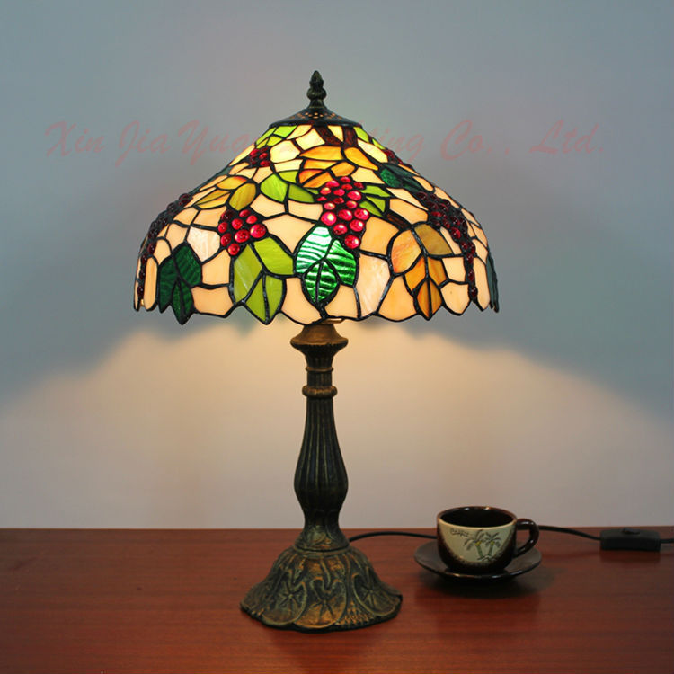 Tiffany Style Stained Glass Table Lamp Lustre Handmade Lampshade Christmas Decorations Home Light Fixtures - Broadway Lighting store
