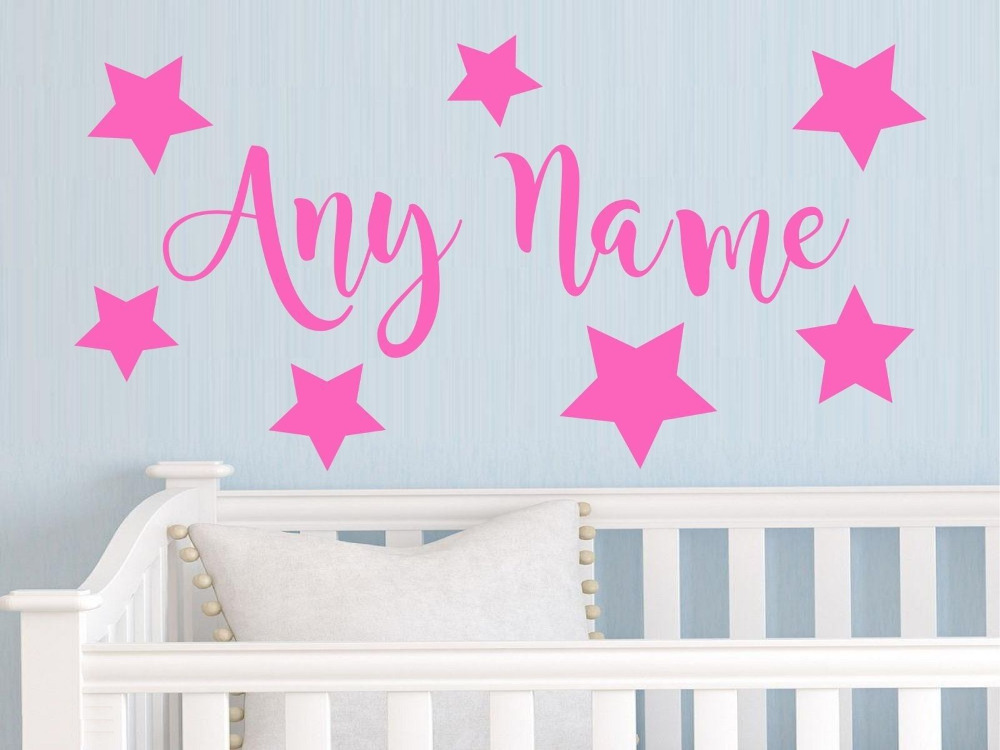 Personalised Stars Any Name Vinyl Wall Sticker Art Decal Kids Bedroom Wall stickers for kids room Living room Vinyl Mural J615(China (Mainland))