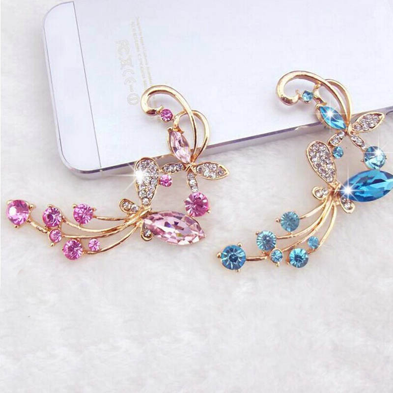 1 Pcs Fashion Butterflies Love Flowers Mobile Phone Stickers Crystal Diamond Decoration Sticker Phone Decal(China (Mainland))