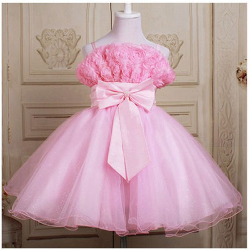 wholesale  7 colors flowers  Wedding dress ,party baby girl Elegant costume, 6pcs/lot  free shipping 588<br><br>Aliexpress