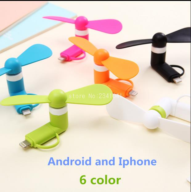 100% tested Mini 2 in 1 Portable Micro USB Fan For iPhone 5 6 hand Fans for Samsung HTC Sony Android OTG Smartphones USB Gadget(China (Mainland))