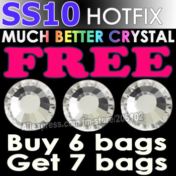 Promotion! SS10 1440pcs/Bag Clear Crystal DMC HotFix FlatBack Rhinestones trim strass,DIY iron heat glass Hot Fix crystal stones