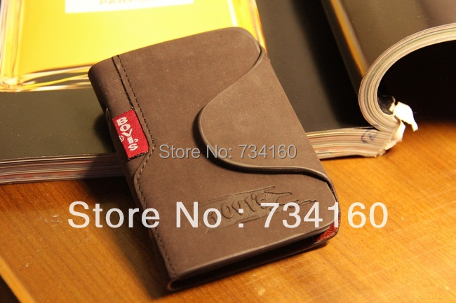 High quality 2015 fashion matte genuine leather Credit-card / business card / Bank card holder card package 20 set slots for man(China (Mainland))