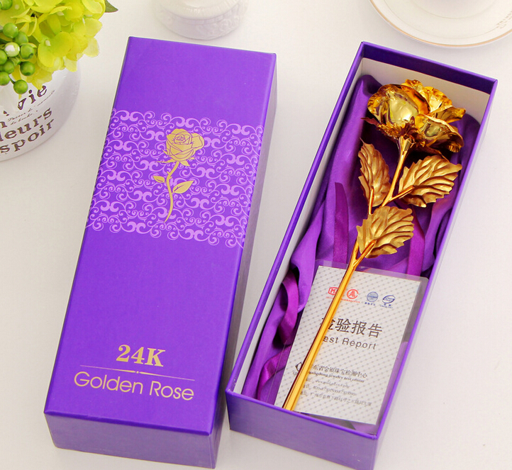 10PCS 24k Gold Rose Foil Flowers Jewelry For Women Lovers Valentine Day Handcrafted Gifts With Box Mother Birthday Gift(China (Mainland))