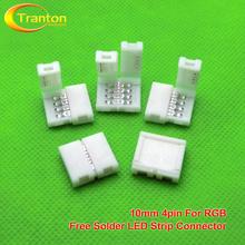 5 teile/los, 4pin Led-streifen-anschlüsse 10mm platine leiter-anschluss für 5050 RGB farbe streifen(China (Mainland))