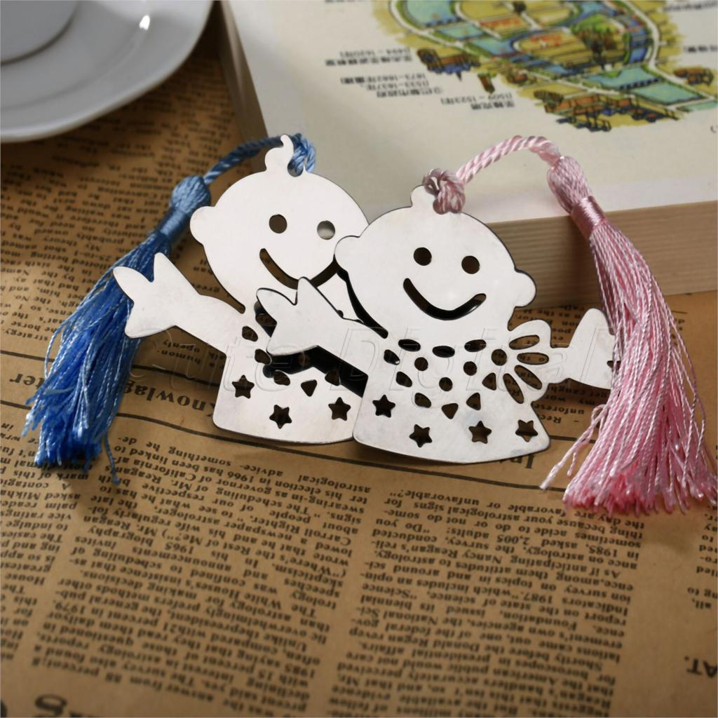 20pcs Silver Snowman Bookmark Baptism Bridal Kids Baby Shower Souvenirs Party Wedding Favors Gifts For Guest w/Blue Pink Tassles(China (Mainland))