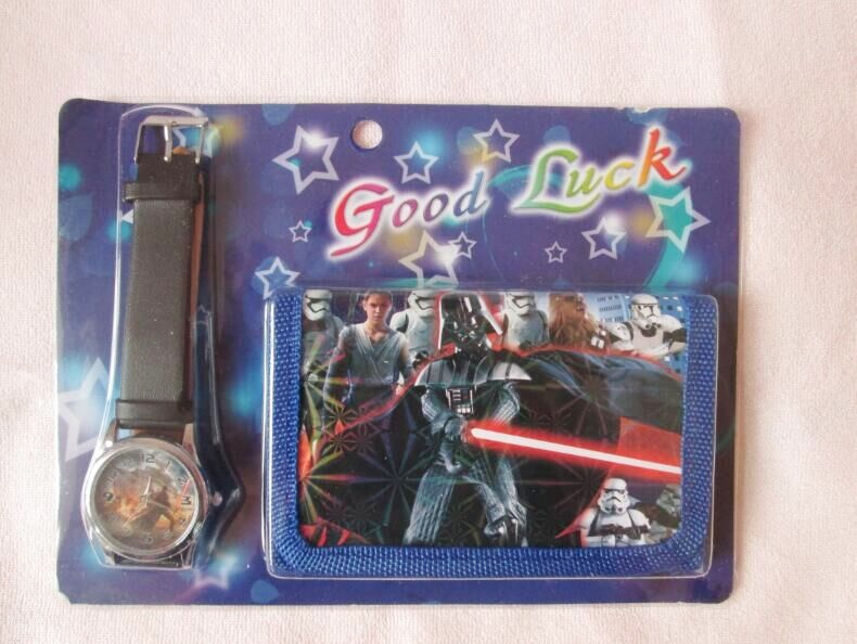 1pcs Star Wars Cartoon Child Quartz Wrist Watch Clock with One Purse Wallet Pocket for Boys