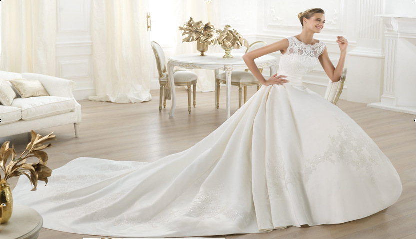 Wedding Gowns A Line Cut : Style sleeveless beaded lace satin a line ivory wedding dresses bridal