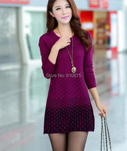 D50 Wholesale autumn winter plus size loose woolen warm Sweaters women  long cashmere dot Jacquard Elasticity sweaters(China (Mainland))