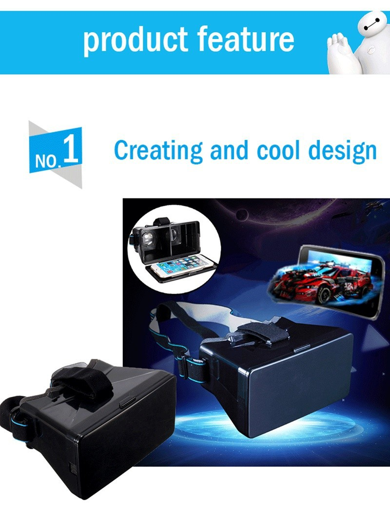 Modern Design Black Universal Virtual Reality 3D Video Glasses for 3.5-5.6 inch Phones Google Cardboard Movie Cinema Convenient