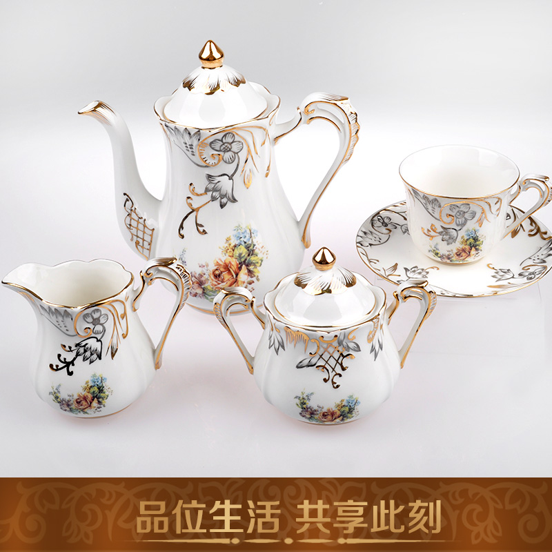Fashion ceramic coffee pot coffee cup and saucer sets tea sets embossed gold afternoon tea utensils