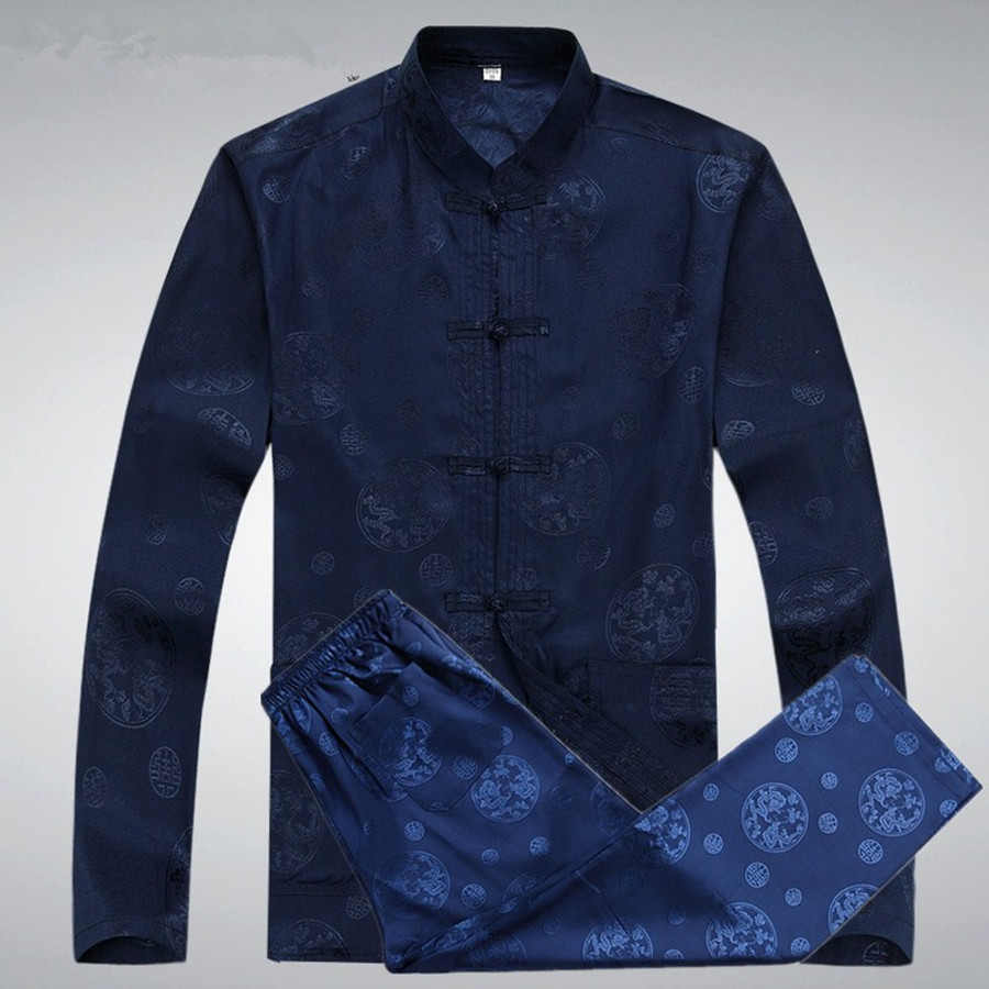 Hot Mens Rayon Solid Traditional Chinese Clothes For Men Tang Suit Tops Long Sleeve Kung Fu Shirts Plus Size