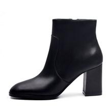 DONNA-IN koyun süet ayak bileği çizmeler moda kare ayak kalın topuk kadın çizmeler yüksek topuk hakiki deri bayan çizmeler(China)