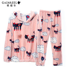 Song Riel autumn and winter flannel pajamas cute cartoon male and female couple cozy outer wear
