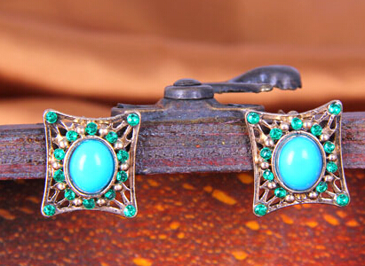 Free shipping trendy buy antique turquoise earring stud antique turkish ottoman jewelry(China (Mainland))
