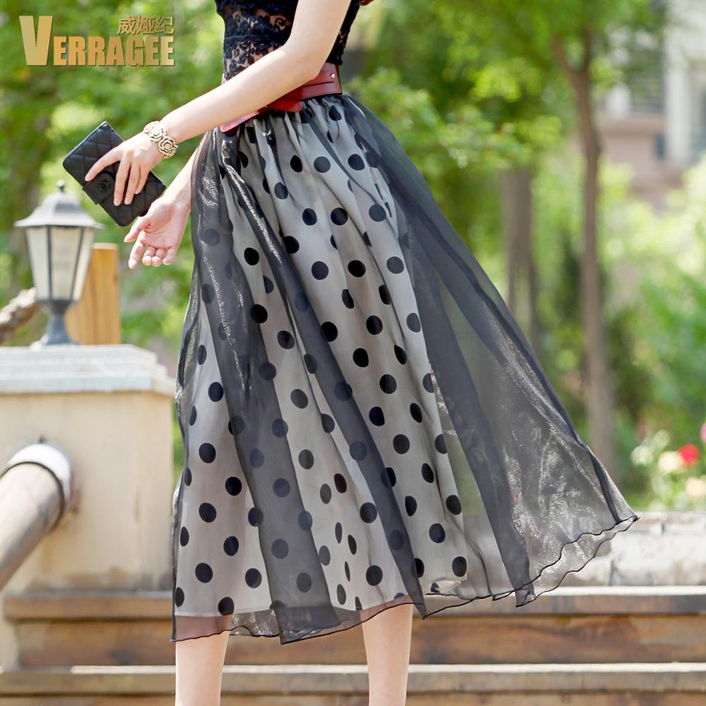 Weiya Ji Europe wave Retro High Waist Chiffon art academy dot skirt skirt in the summer(China (Mainland))