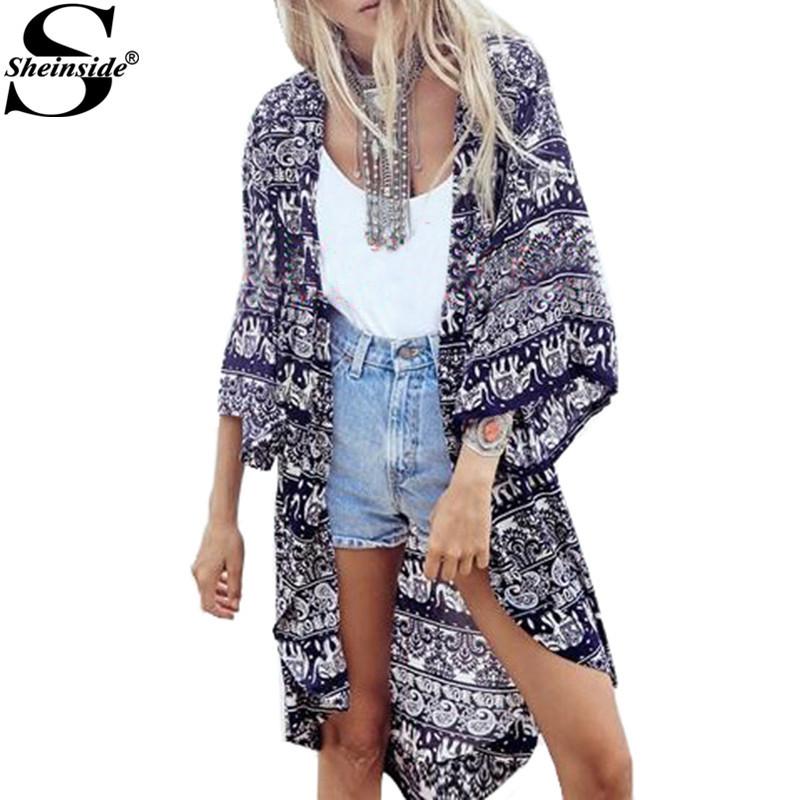 Sheinside 2015 Brand Casual Fashion Summer Women CardiganTops Half Sleeve Female Clothes Blue Paisley Print Loose Kimono(China (Mainland))