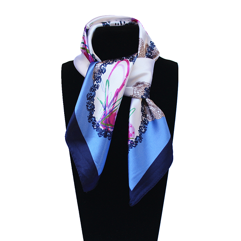 60cm*60cm Women 2016 New Fashion Imitated Silk Hand Paint Printed Circle Office Lady Square Scarf Hot Sale(China (Mainland))