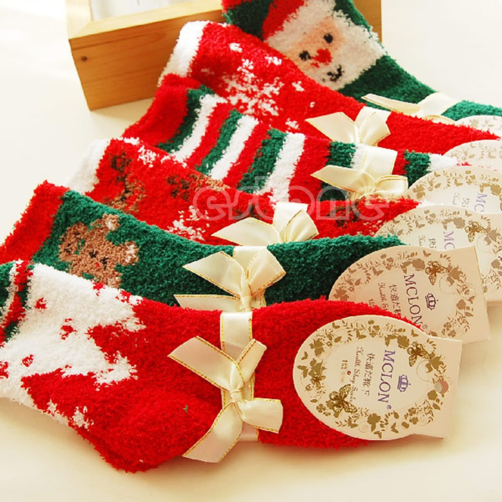 New Fashion 1 Pair Christmas Woman Men Warm Soft Winter Cozy Socks New Year Gift(China (Mainland))