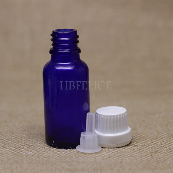 Factory wholesale 468pcs/LOT 20ml Blue glass bottles with White Tamper Evident Cap Plastic plug(China (Mainland))