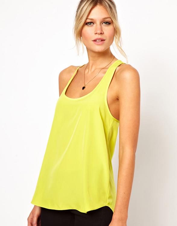 2015 hot sale brand women tops low-cut chiffon tank top vest yellow green top ruffles(China (Mainland))