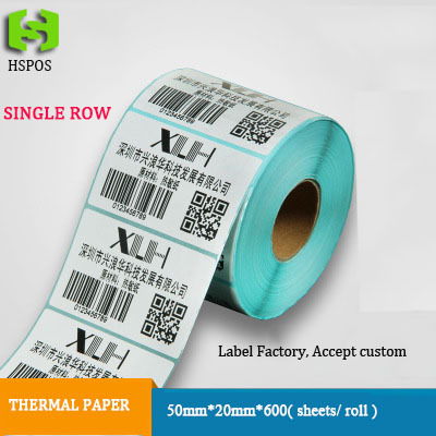 Thermal barcode sticker quality label paper 50mmX20mm 600pcs per roll can be custom logo self adhesive papel printer labels(China (Mainland))