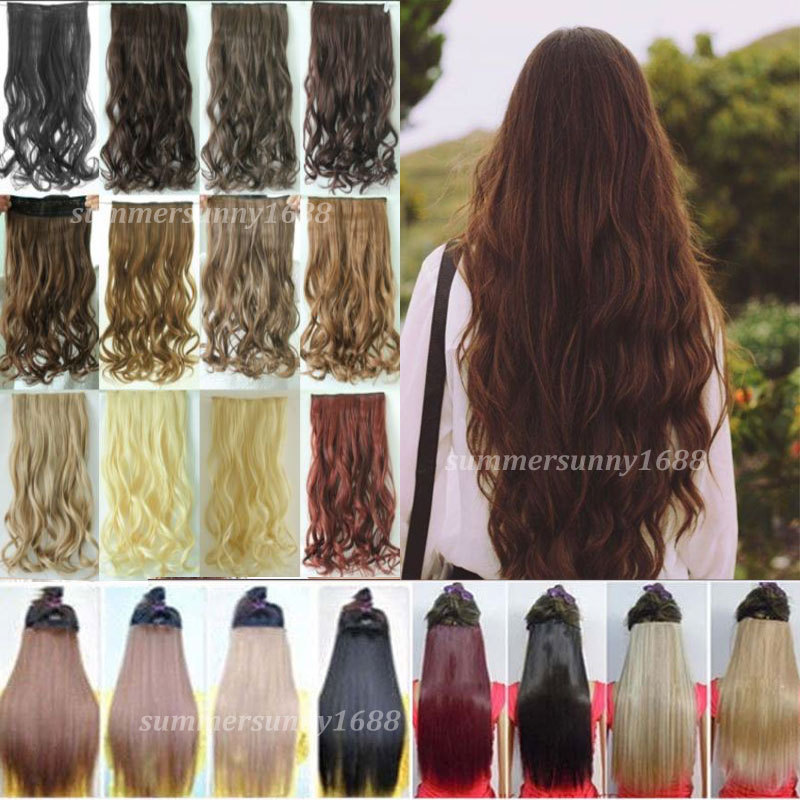 "24"" Curly Wavy One Piece Clip in on Hair Extensions 3/4 Full Head Long Women Lady Hair Piece Any Colors real quality(China (Mainland))"