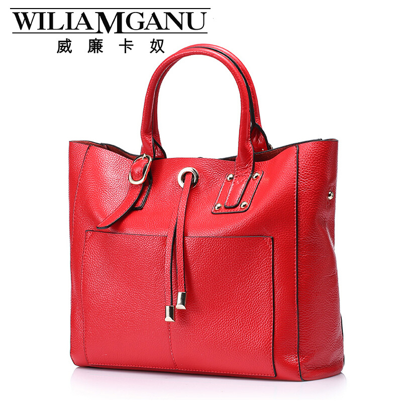 WILIAMGANU Brand Women Handbags Top quality Genuine Leather Bag Fashion Women Totes Cowhide Simple Shoulder Messenger Bags<br><br>Aliexpress