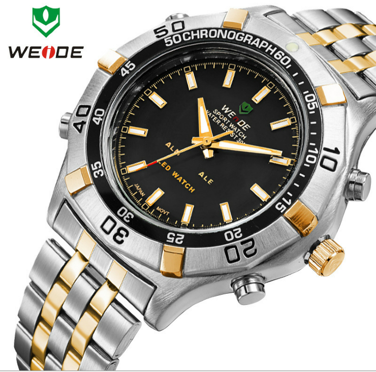 Free Shipping!WEIDE wristwatch men watch sport waterproof quartz LED alarm 3 ATM water resistant Japan movement(China (Mainland))