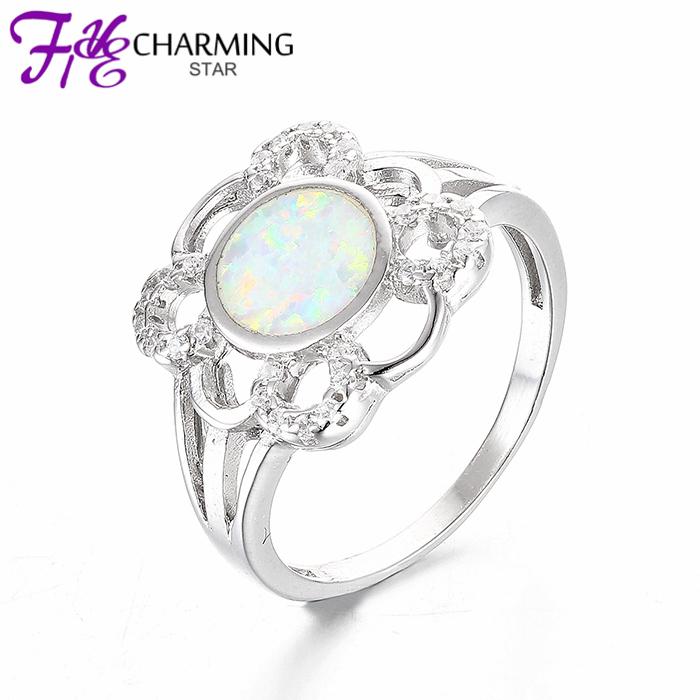 New Summer Style White Fire OPAL Wedding Rings For Women 925 Flower Ring Sterling Silver Jewelry Hight Quality SRI002W(China (Mainland))