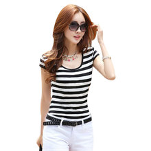 summer 2016 woman Casual Basic t shirt stripe style women's t-shirt short sleeve base fashion tees cotton O-neck tops S~XXL